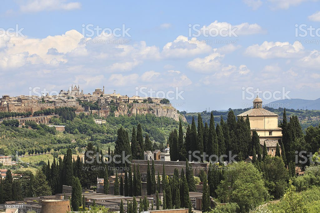 Cemetery and Orvieto in Umbria, Italy stock photo