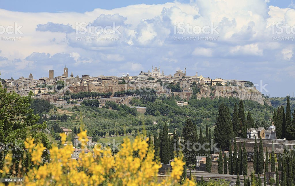 Cemetery and Orvieto in Umbria, Italy royalty-free stock photo