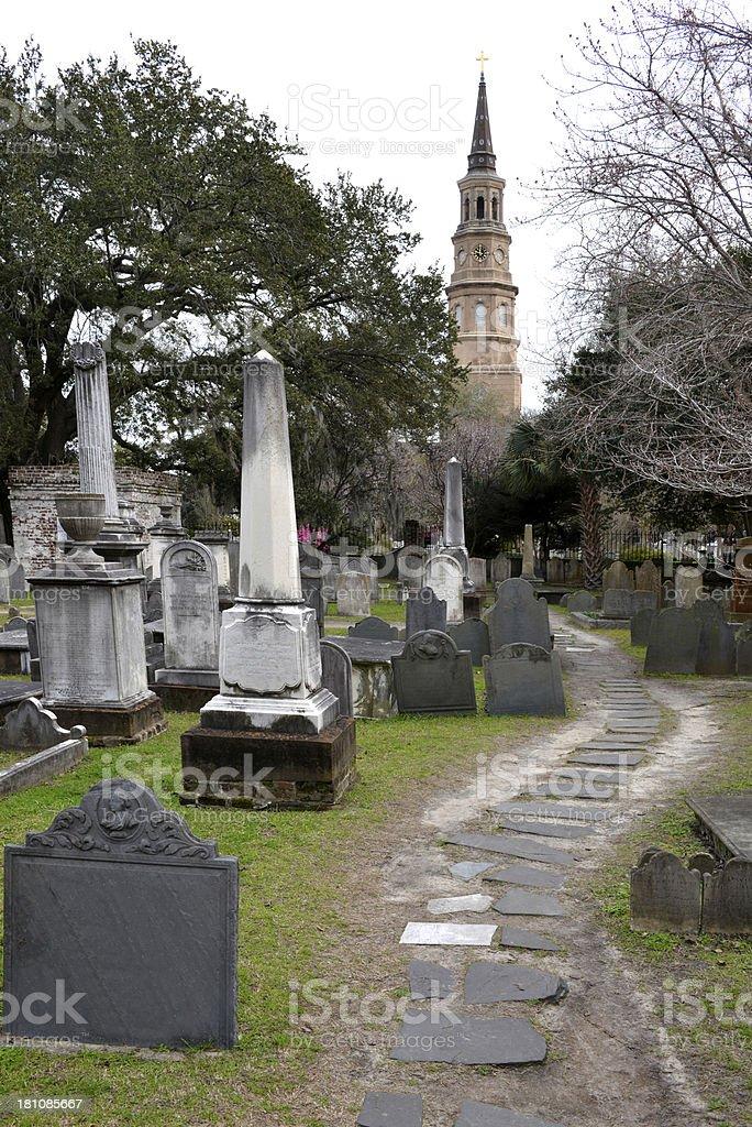 Cemetery at Circular Congregational Church in Historic Charleston, South Carolina royalty-free stock photo
