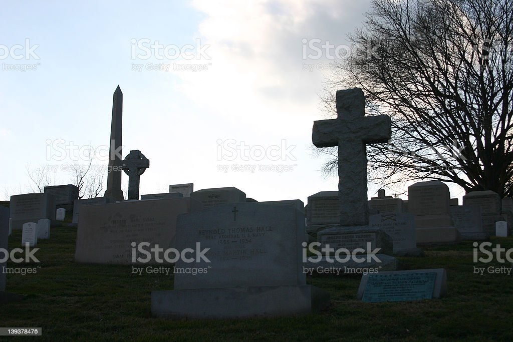 cemetery at dusk royalty-free stock photo