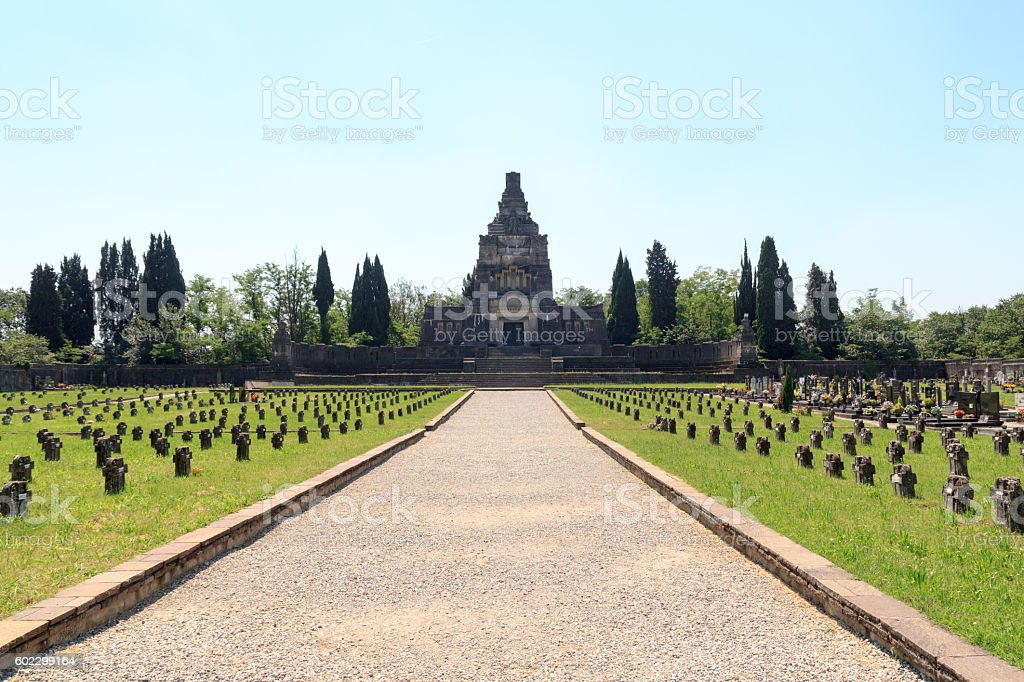 Cemetery at historic industrial town Crespi d'Adda, Lombardy, Italy stock photo