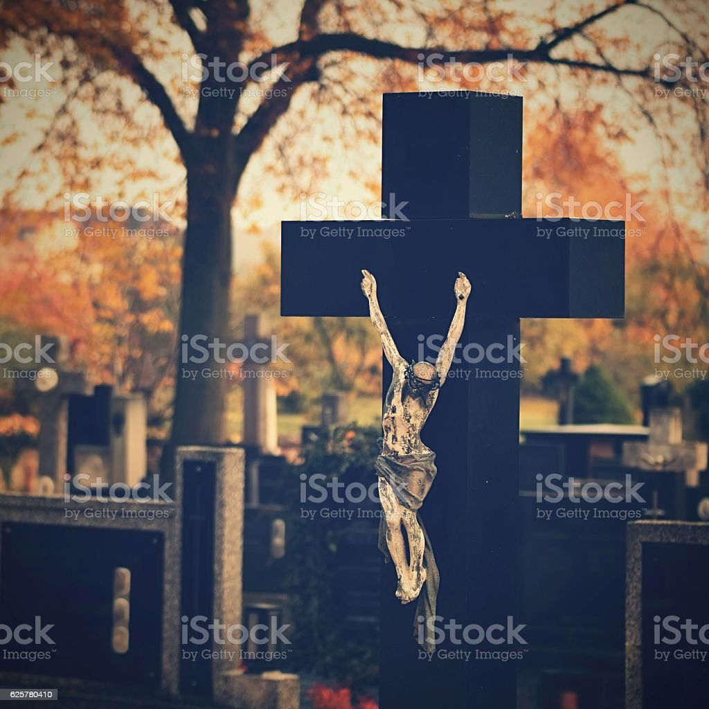 Cemetery, background for Halloween. stock photo