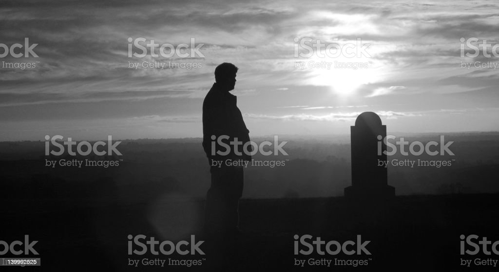 Cemetery Black and White Silhouette stock photo