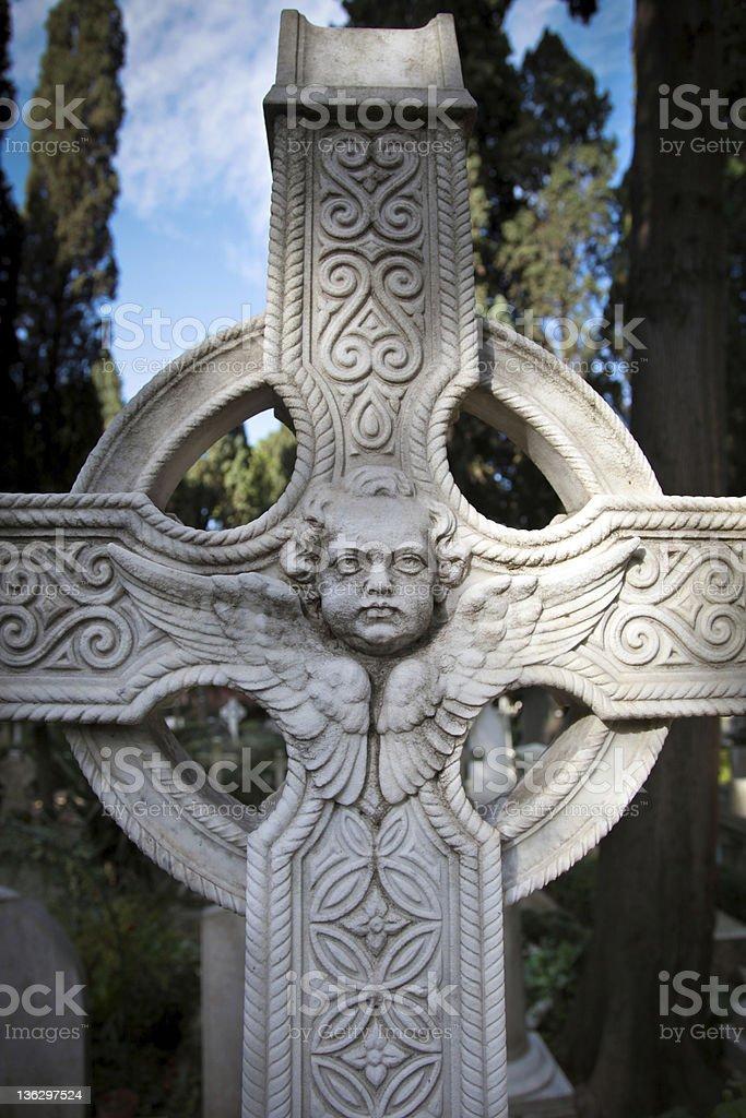 Cemetery celtic cross royalty-free stock photo