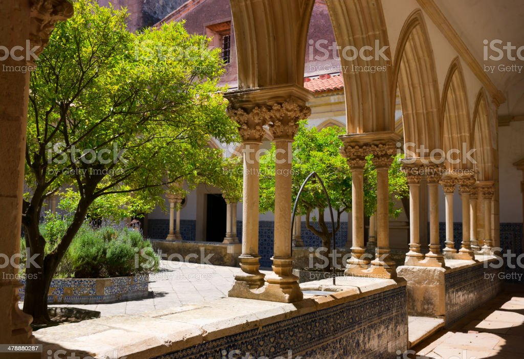 Cemetery Cloister Convent of Christ in Tomar, Portugal stock photo