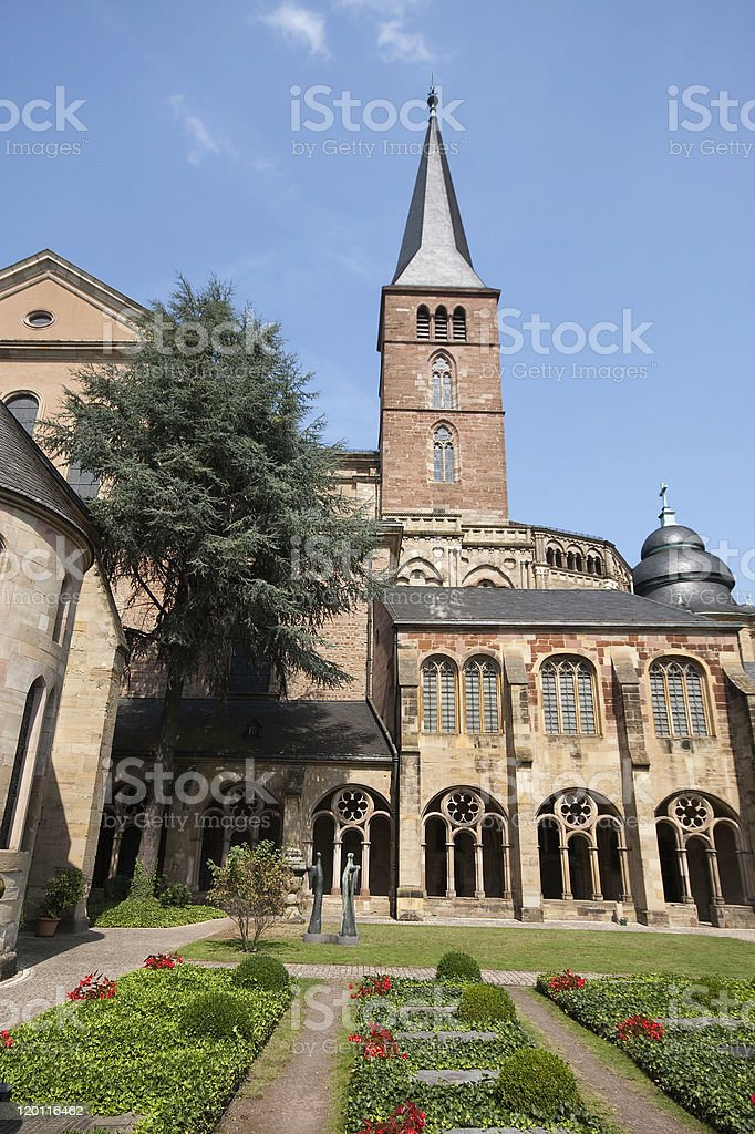 Cemetery courtyard -nCathedral of Saint Peter (Trier, Germany) stock photo