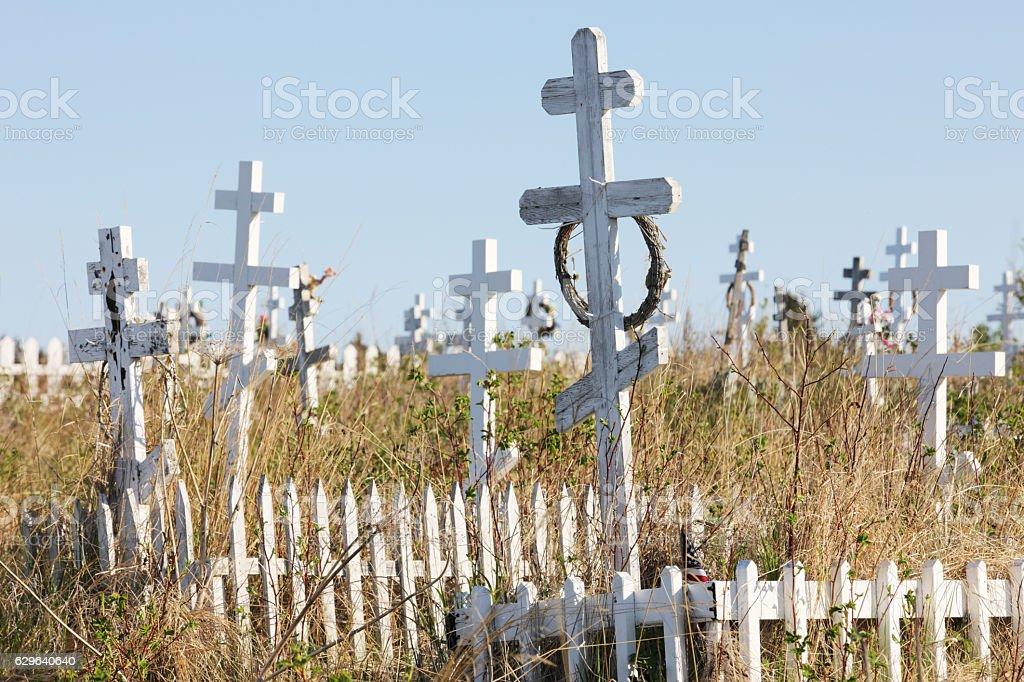 Cemetery Crosses Russian Orthodox Tomstones stock photo