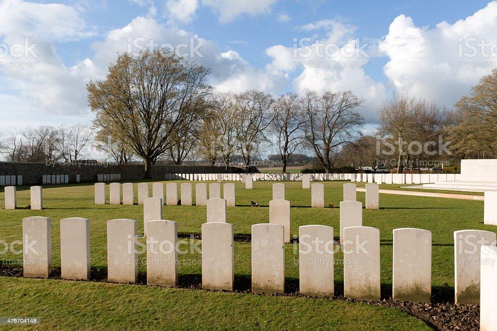 cemetery fallen soldiers in World War I Flanders Belgium stock photo