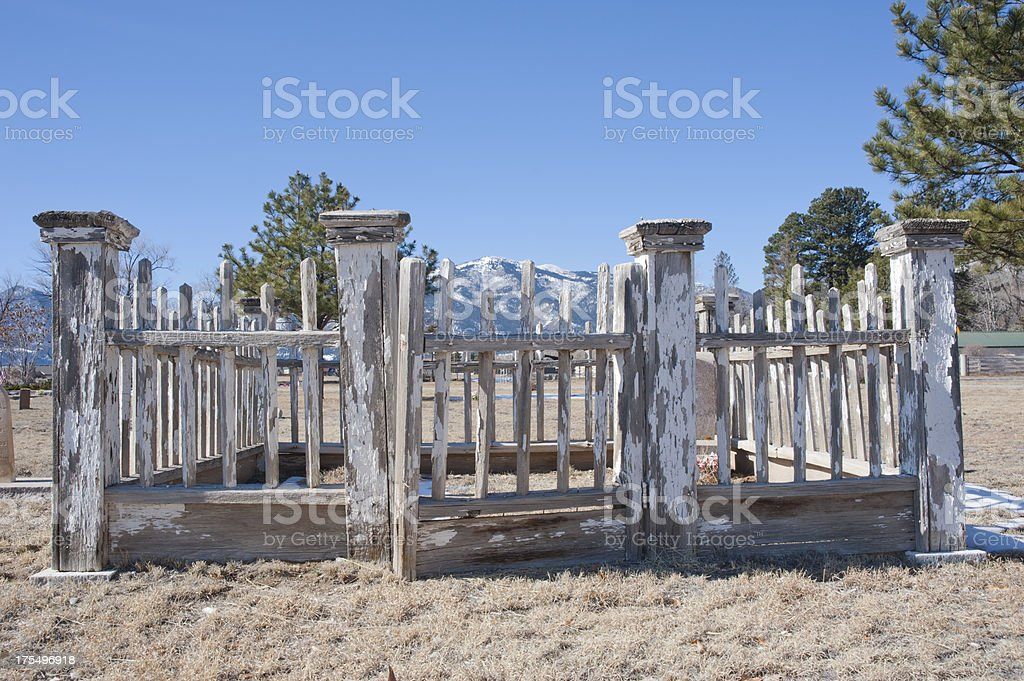 Cemetery Fence in the Mountains stock photo