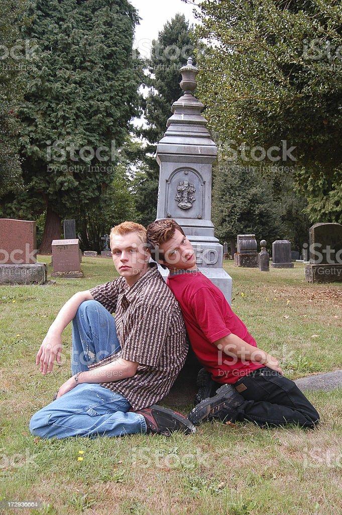 Cemetery Friends stock photo