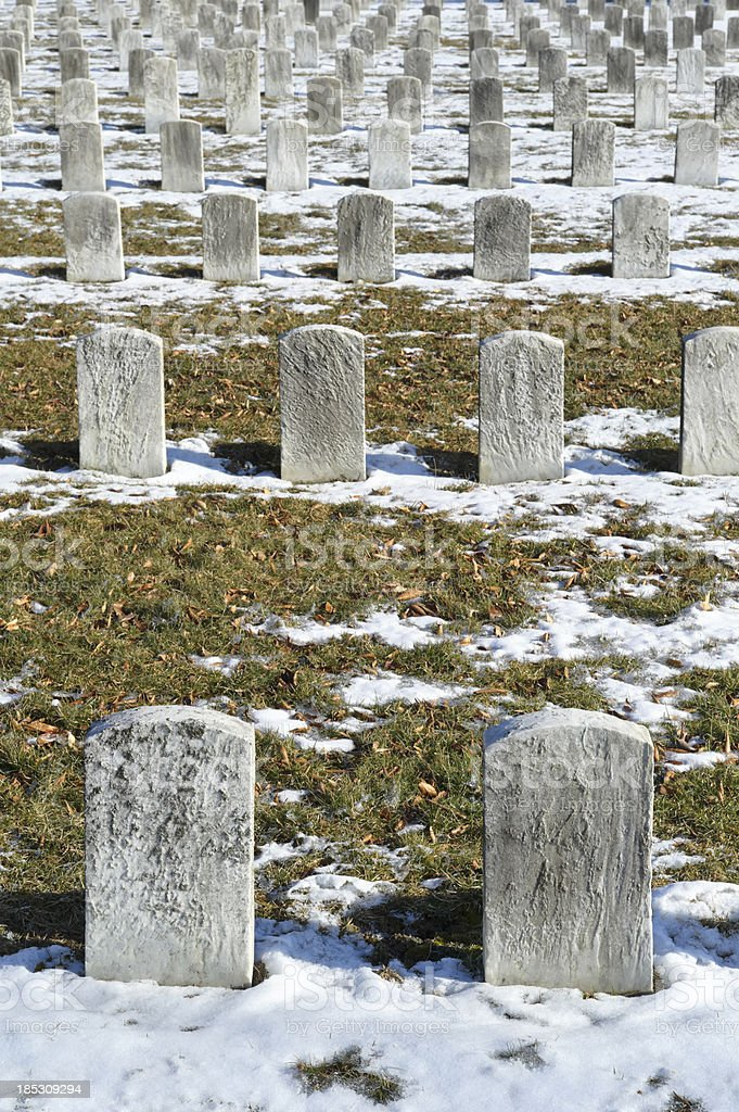 Cemetery Graves and Headstones in Rows, Copy Space stock photo
