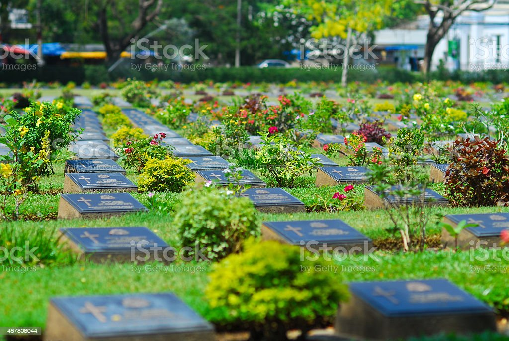 cemetery graveyard of die military world war two in kanchanaburi stock photo