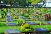 cemetery graveyard of die military world war two in kanchanaburi