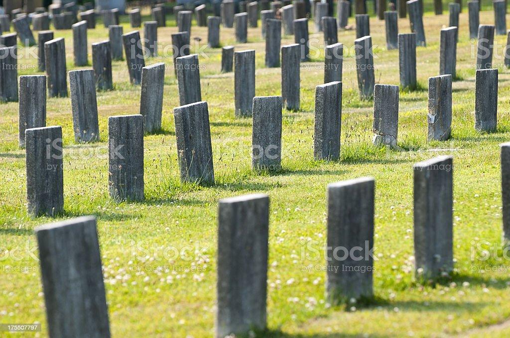 Cemetery headstones stock photo