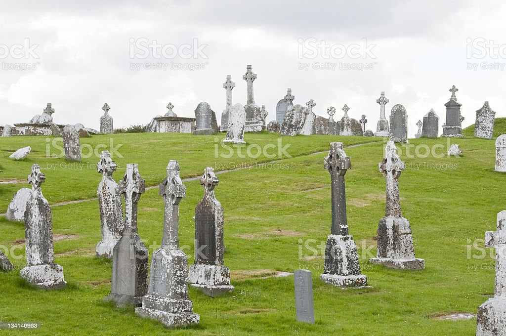 Cemetery in Clonmacnoise stock photo