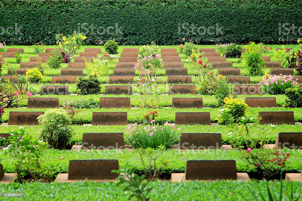 Cemetery in Kanchanaburi Thailand stock photo