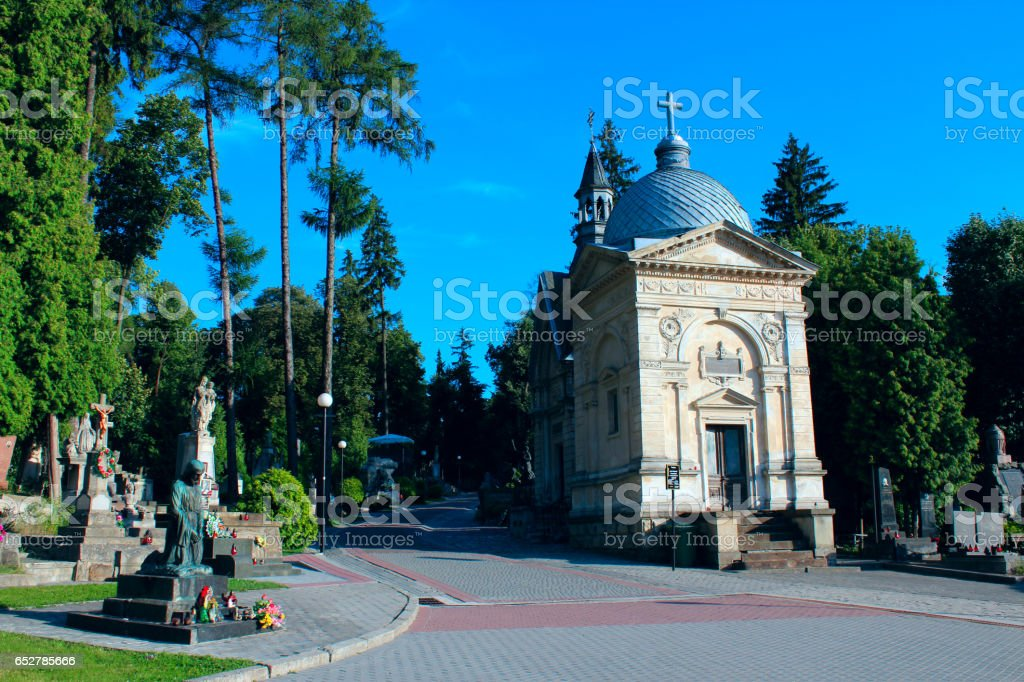 Cemetery in Lviv stock photo