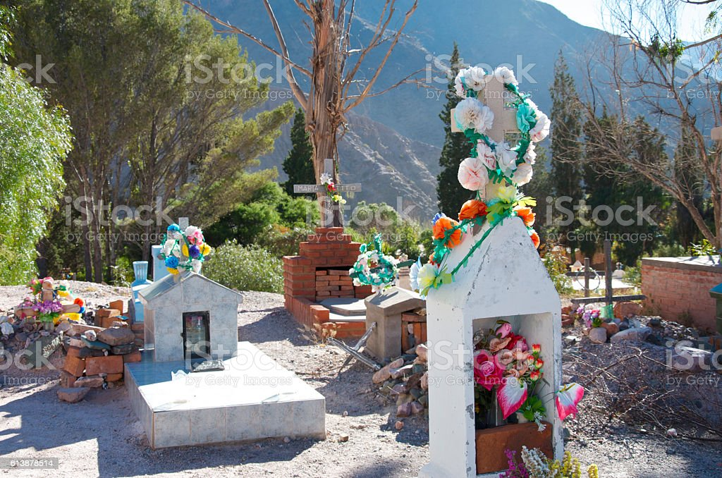 Cemetery in Pumamarca Argentina stock photo