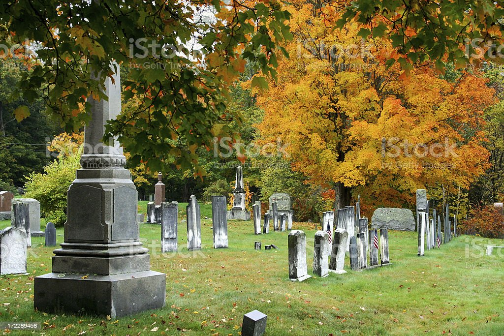 Cemetery in the Fall royalty-free stock photo
