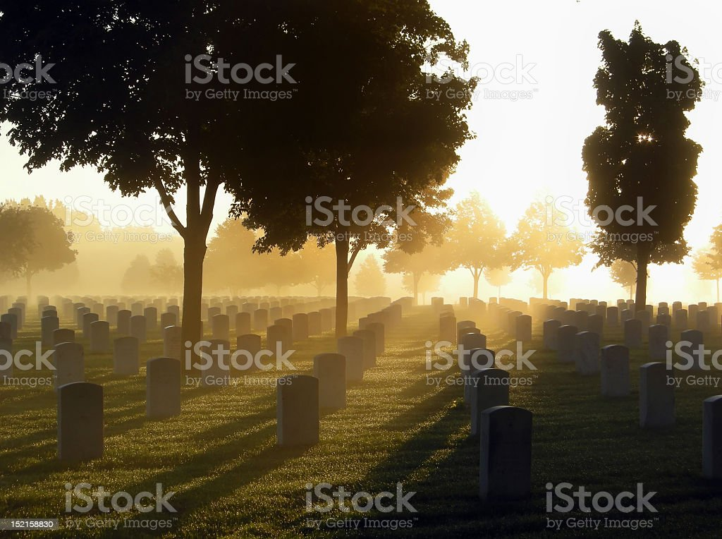 Cemetery in the Fog stock photo