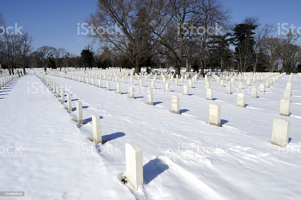 Cemetery in winter royalty-free stock photo