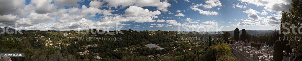 Cemetery, Mediterranean, villas daytime panorama Saint-Paul-De_Vence, France stock photo