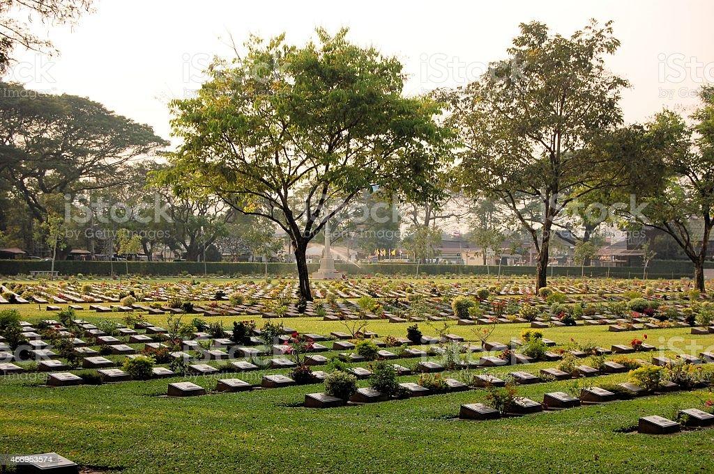 Cemetery of World War 2 casualties, Kanchanaburi, Thailand stock photo