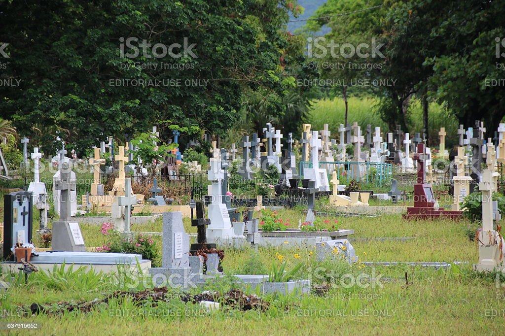 Cemetery, Olivia, Mauritius, Indian Ocean, Africa stock photo