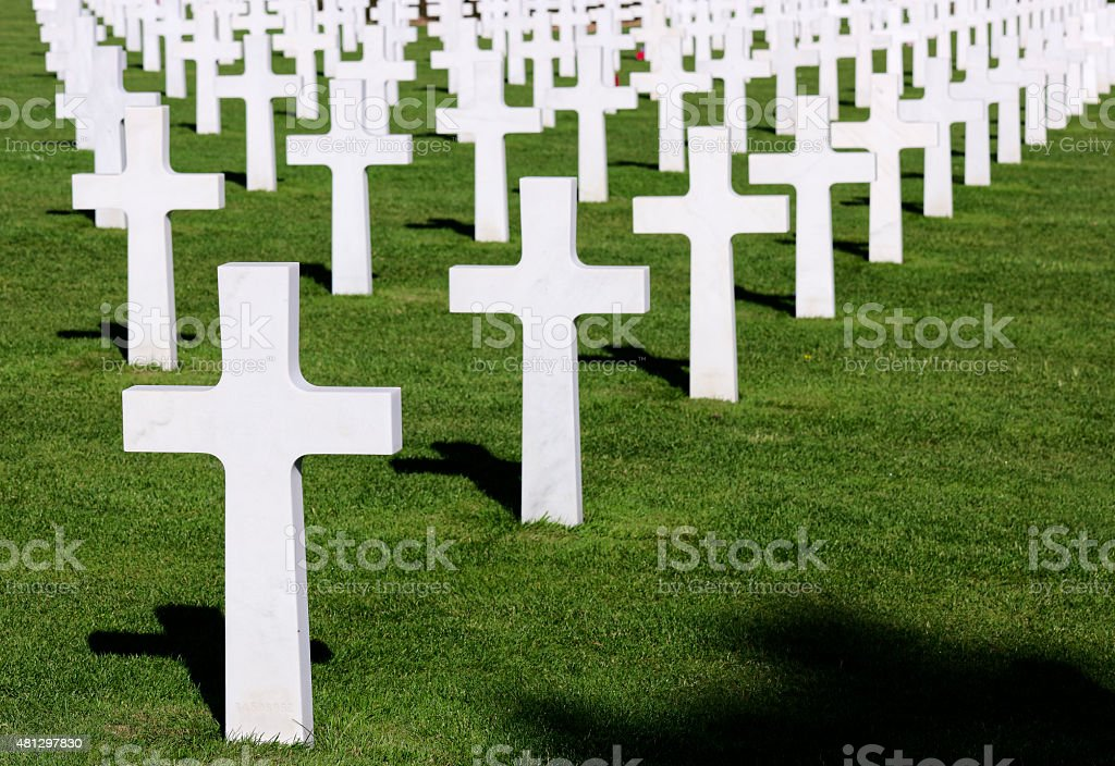US cemetery Omaha Beach (D-Day) in Colleville, Normandy, France stock photo