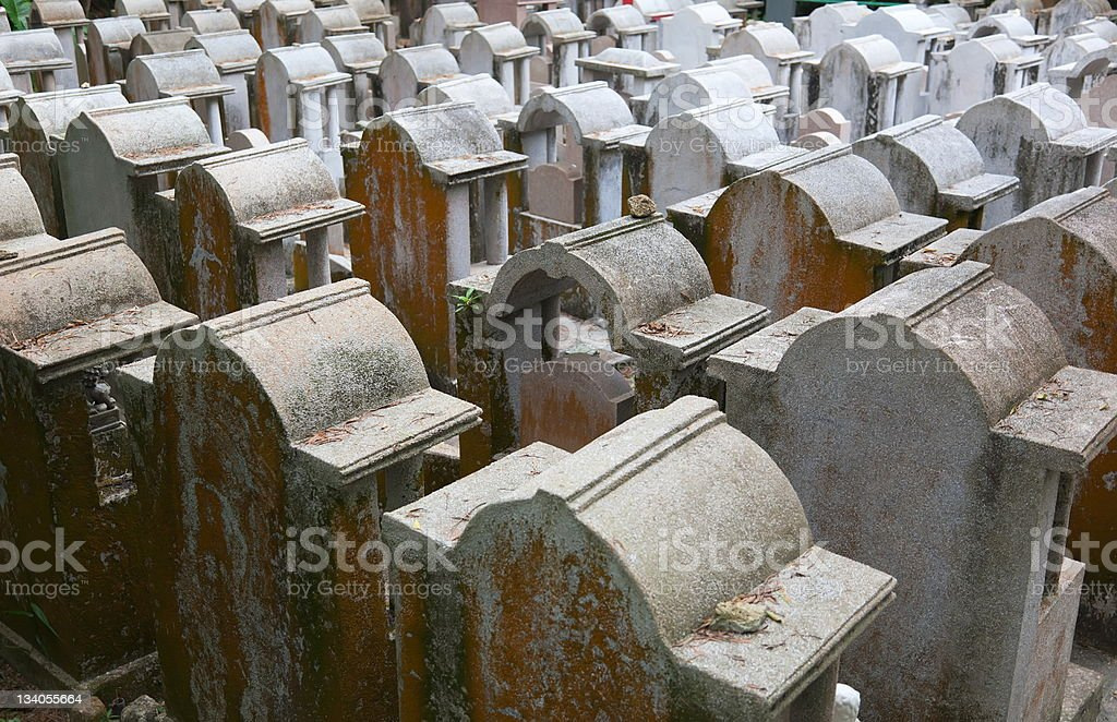 Cemetery on Cheung Chau Island. Hong Kong. royalty-free stock photo