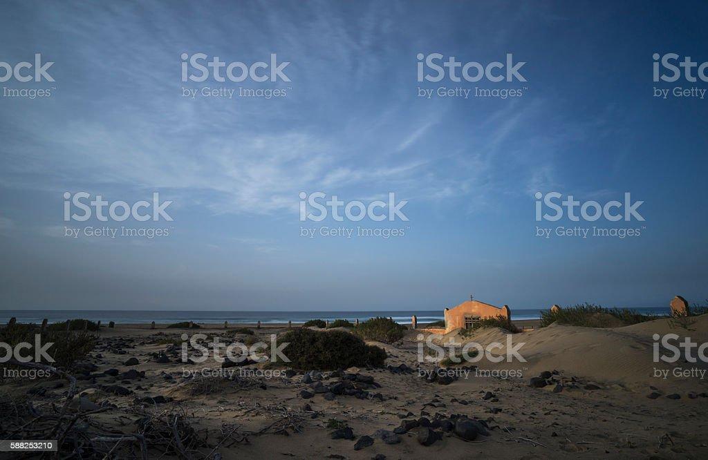 Cemetery on Cofete Beach stock photo