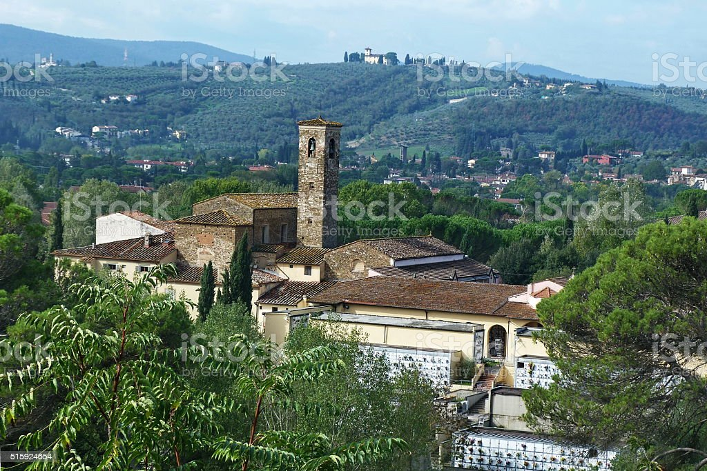 Cemetery on the hills around Florence, Italy stock photo