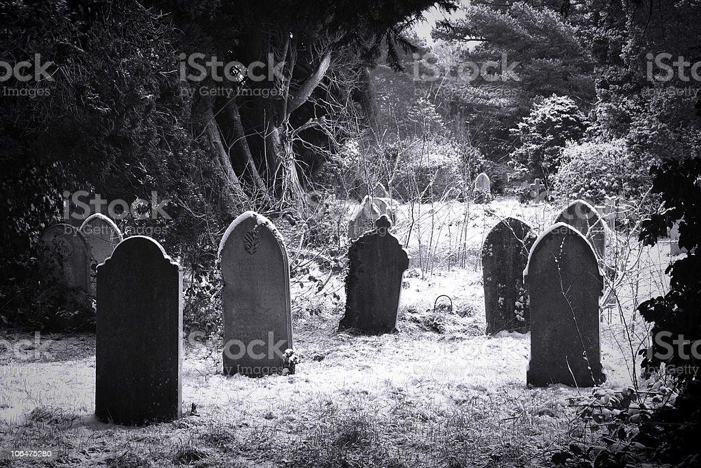 Cemetery & snow stock photo
