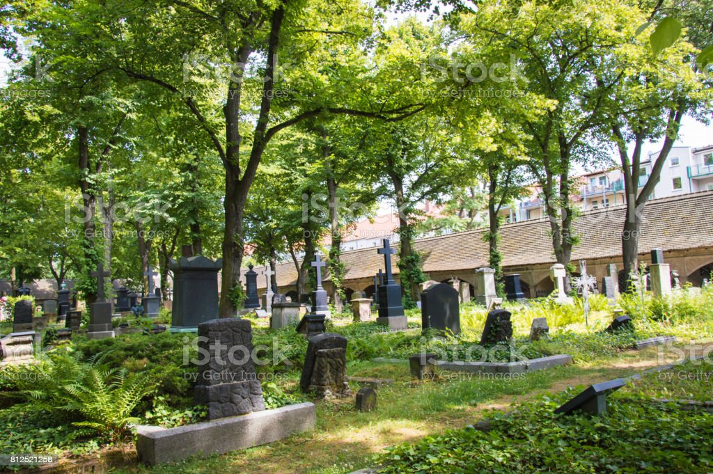 Cemetery Stadtgottesacker in German city Halle, Germany stock photo