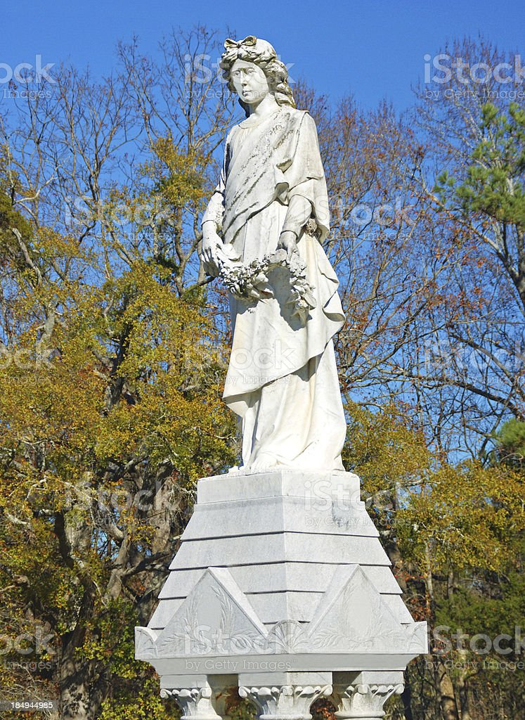 Cemetery Statue in Madison Georgia stock photo