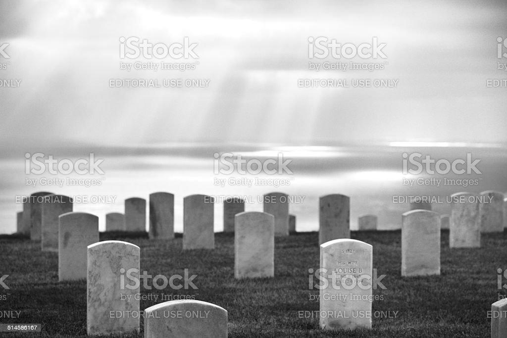 Cemetery Tombstone Graves Sunbeams stock photo