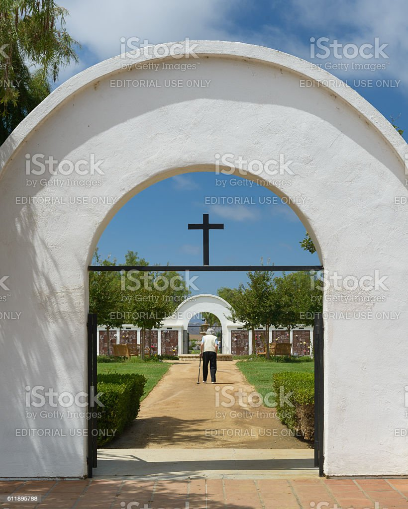 Cemetery visitor stock photo
