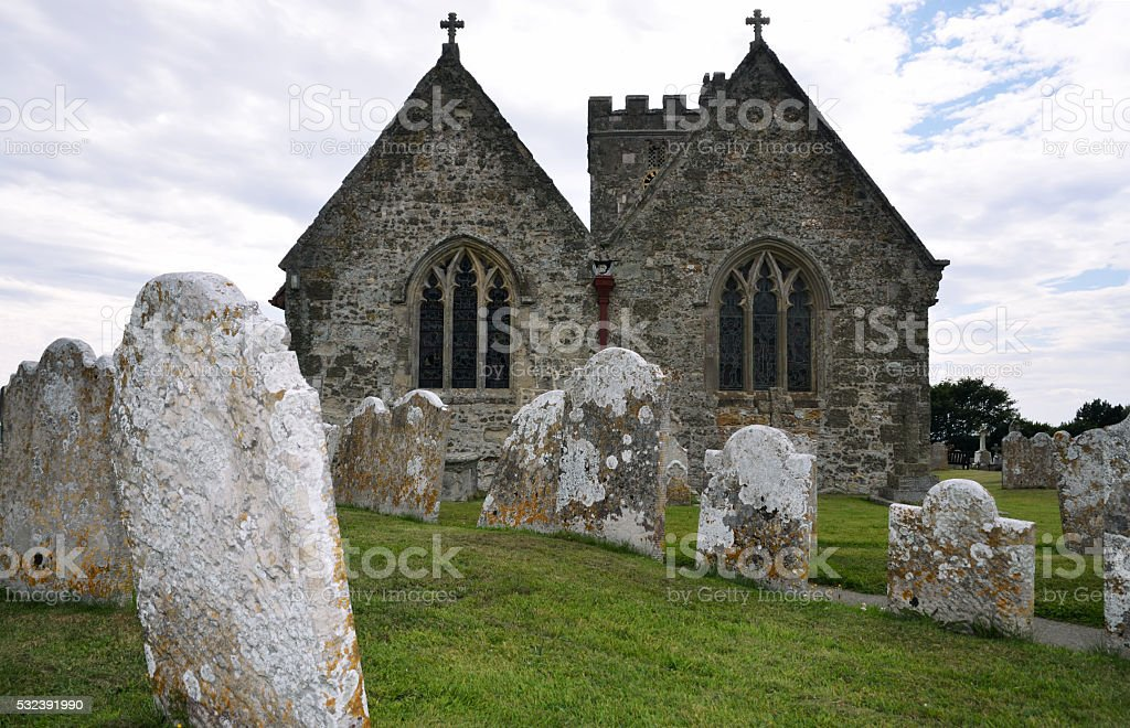 cemetery with chapel stock photo