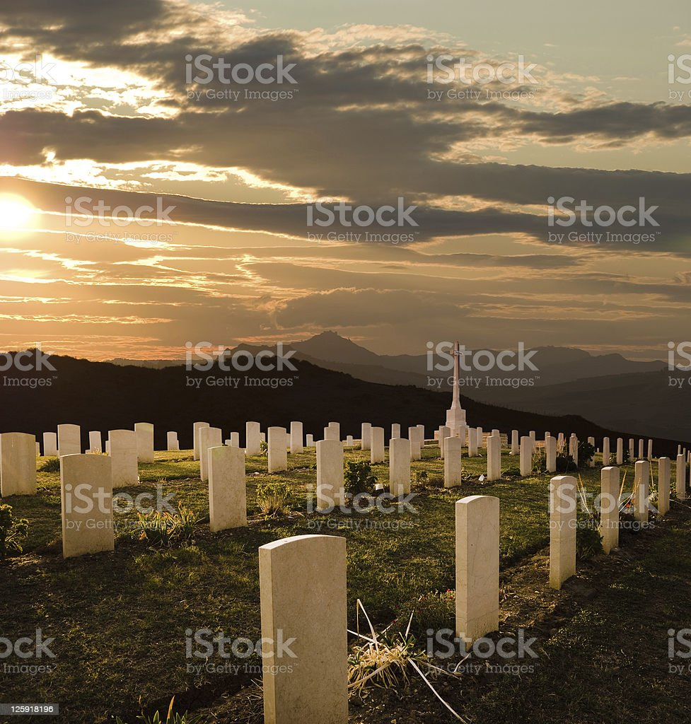 cemetery World War II at sunset royalty-free stock photo
