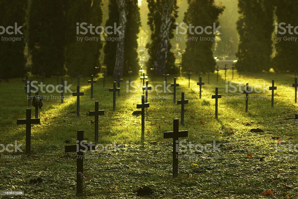 Cemetry at sunrise royalty-free stock photo