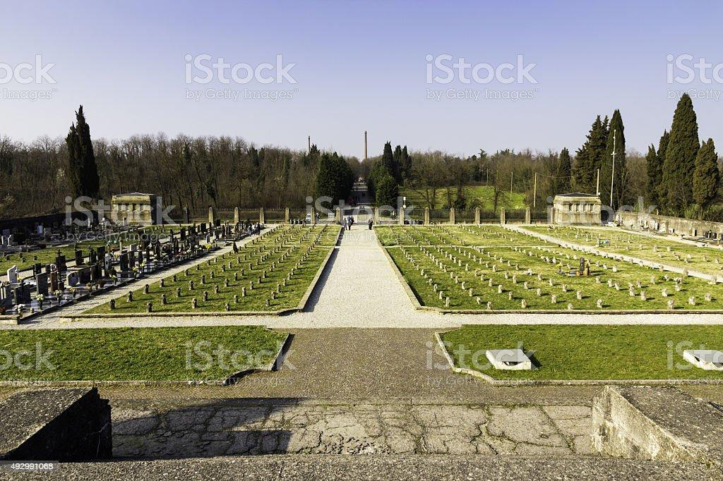 Cemitery in crespi d adda Italy stock photo