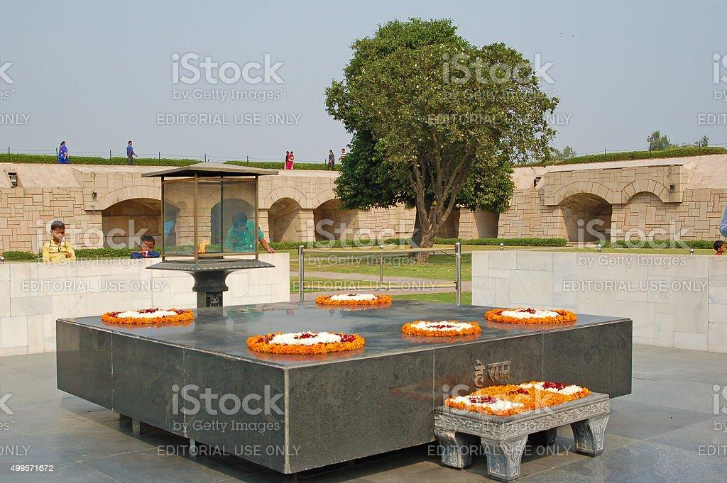 Cenotaph of Gandhi in Delhi stock photo