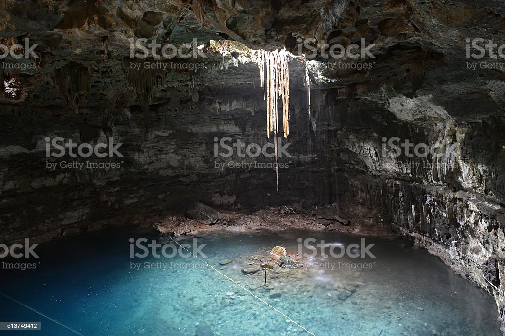 Cenote Samula in Yucatan peninsula, Mexico. stock photo