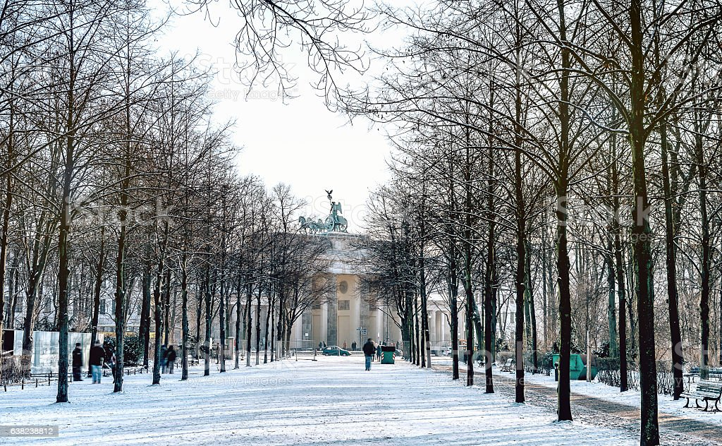 cenral perspective view on winterly Berlin Brandenburger Tor stock photo