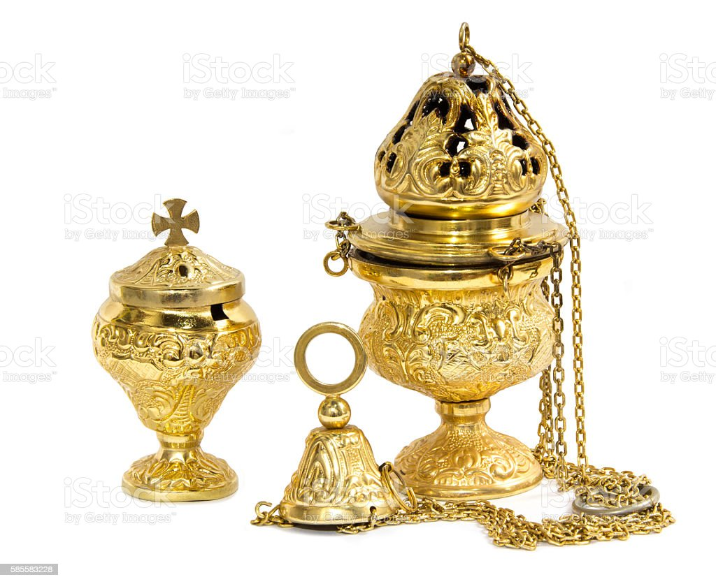 Censer hung and thurible on  white background stock photo