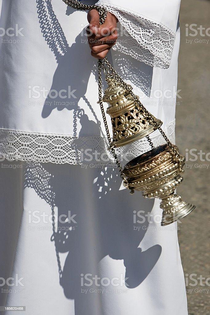Censer of silver or alpaca to burn incense stock photo