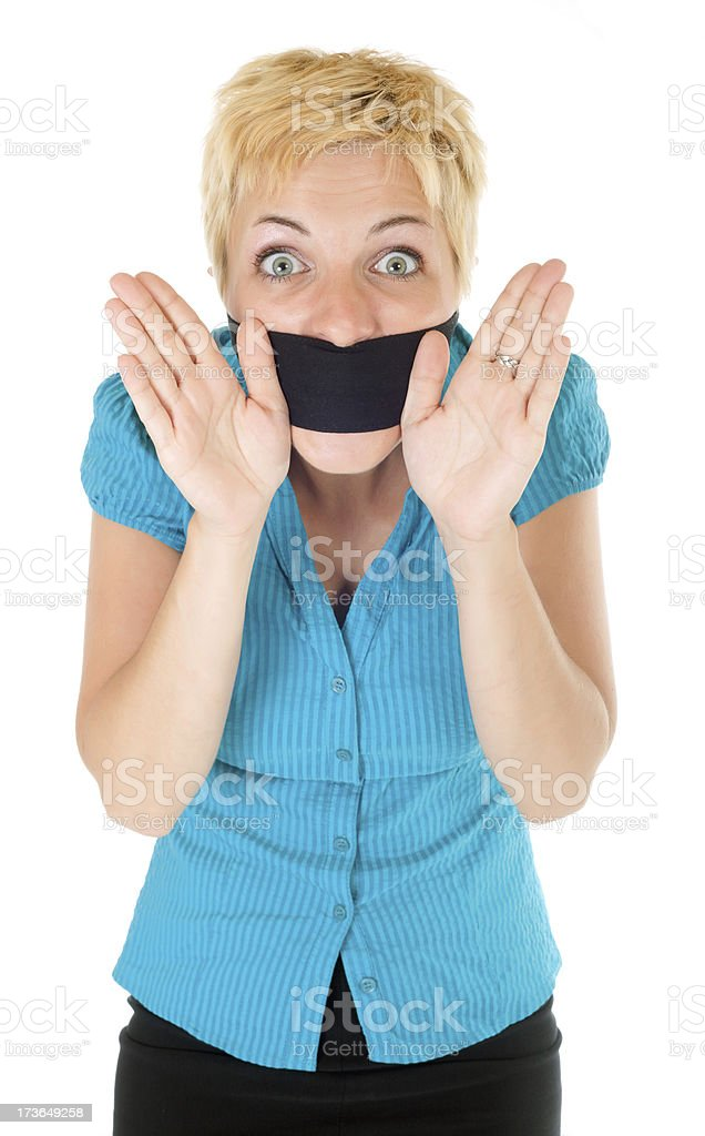 censored blond woman stock photo