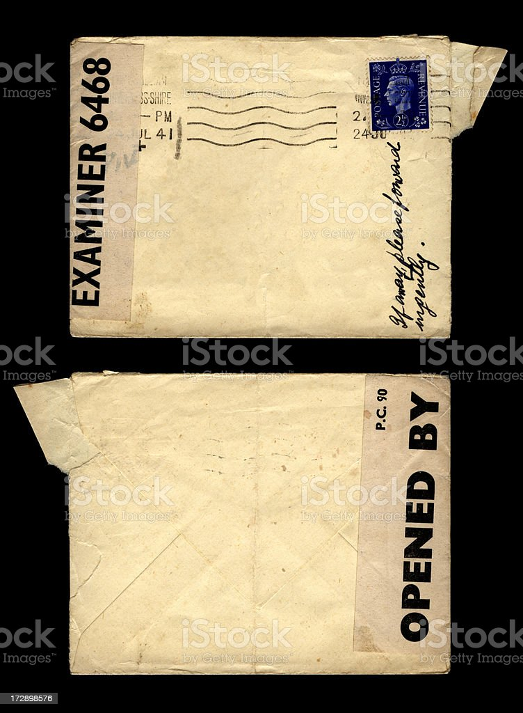 Censored wartime envelope royalty-free stock photo