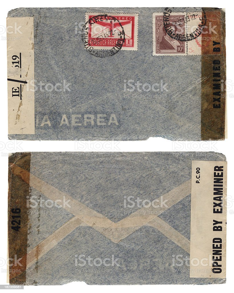 Censor-opened envelope from Argentina to USA, 1943 stock photo