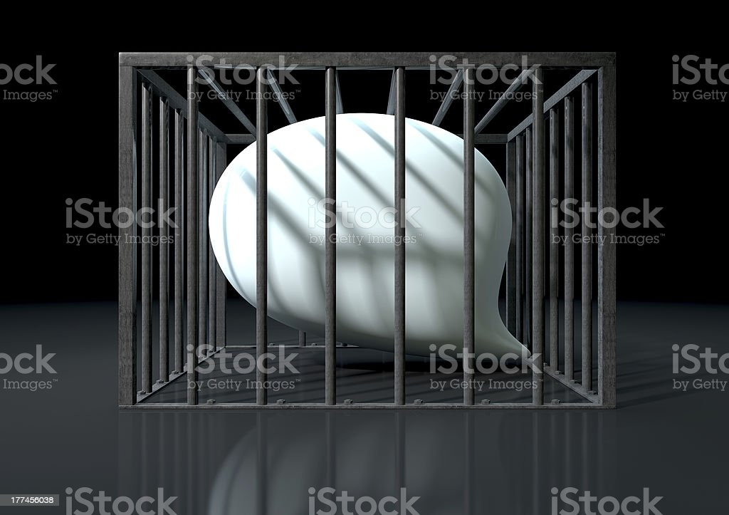 Censorship Of Speech Caged royalty-free stock photo